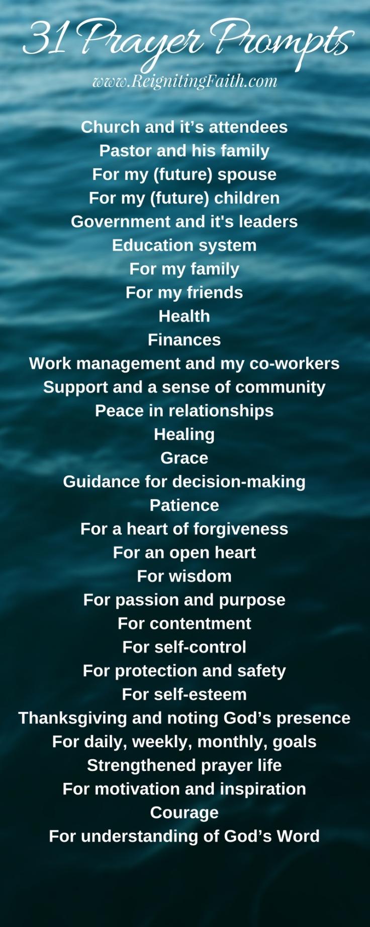 31 Prayer Prompts